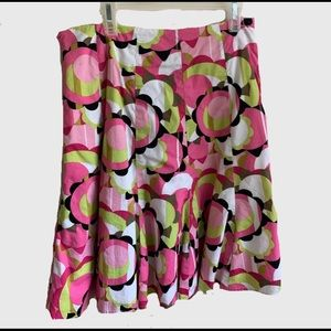 Graphic abstract floral print skirt bright